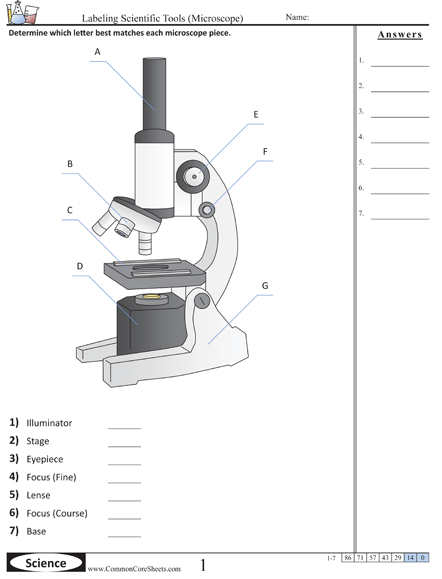 Science Tools Worksheets