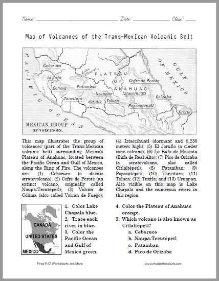 Map Of Volcanoes Of The Trans