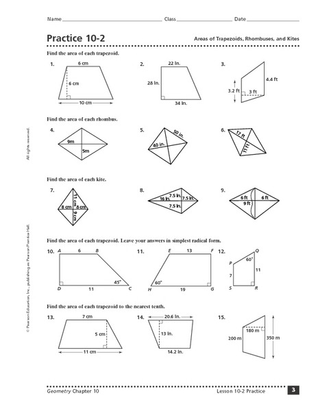 Area Of Trapezoids Worksheet