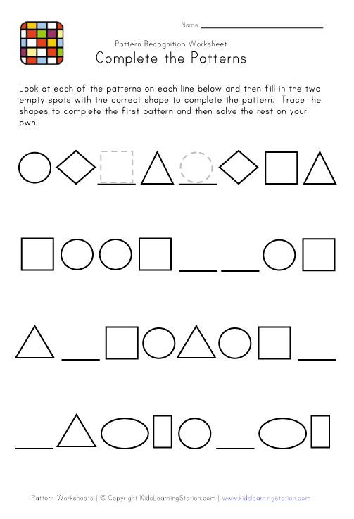 Useful Math Pattern Worksheets For Grade 1