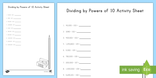 Dividing By Powers Of 10 Worksheet   Worksheet