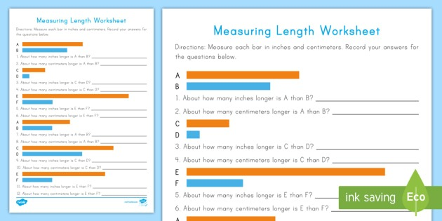 Measuring Length Worksheet   Worksheet