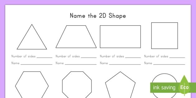 Name The 2d Shape Worksheet   Worksheet