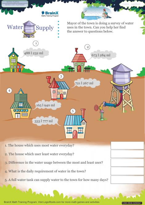 Water Supply Math Worksheet For Grade 5