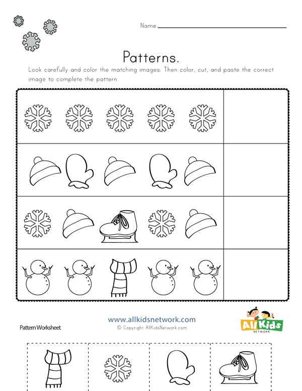 Winter Cut And Paste Patterns Worksheet