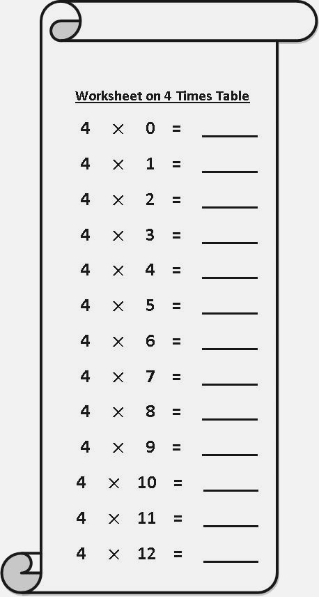 Four Times Tables Worksheets – Dailypoll Co