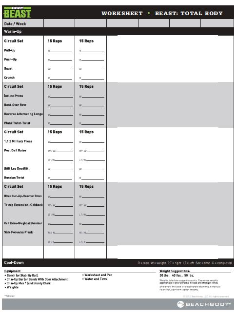 Body Beast Worksheets