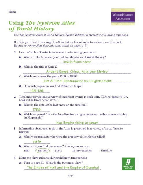 World History Atlas Test With Answers