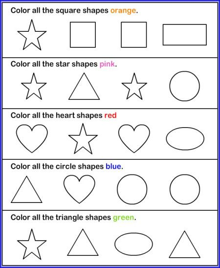 Color Pictures Shapes Worksheet