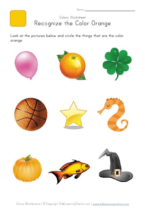 Preschool Color Worksheet  Color Recognition  Orange