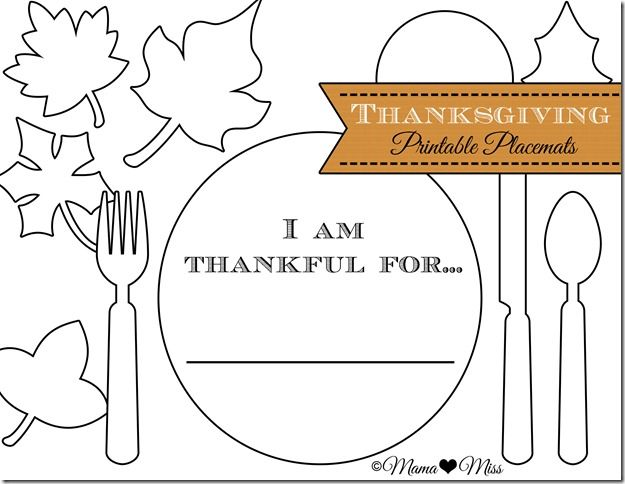 Thanksgiving Placemats {free Printable}