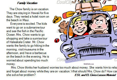 Family Vacation  Reading Comprehension Test