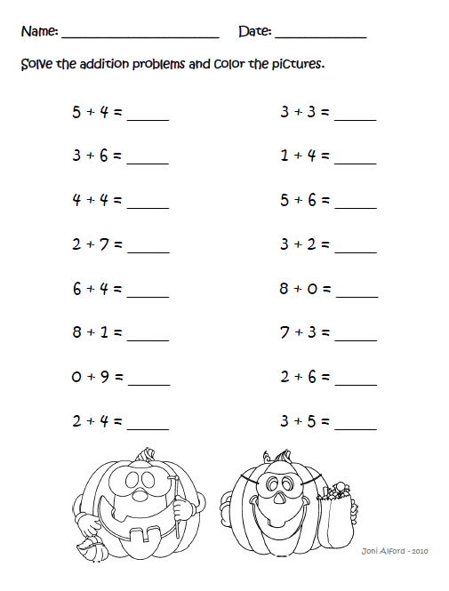 1st Grader Halloween Worksheets – Happy Holidays!
