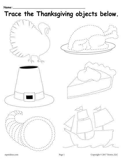 Free Printable Thanksgiving Tracing Worksheet