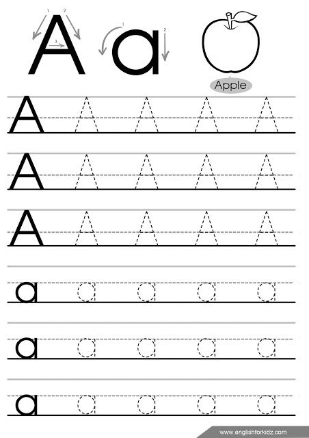 Letter A Tracing Worksheet, English For Kids