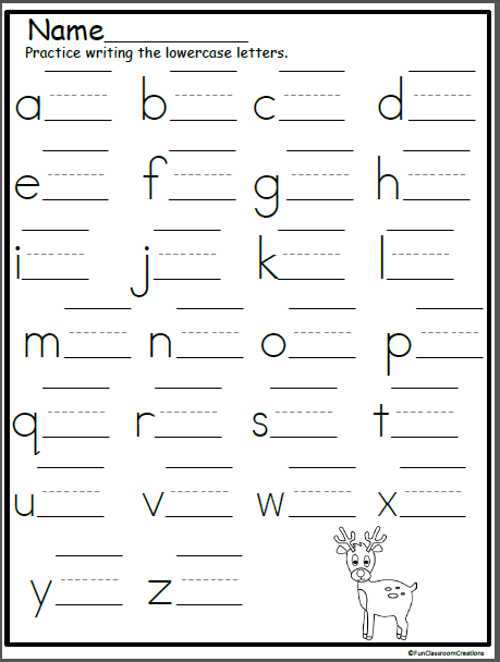 Reindeer Lowercase Letter Writing Practice