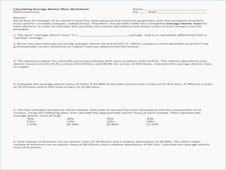 Calculating Atomic Mass Worksheet