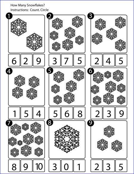 Count Snowflakes Math Worksheet