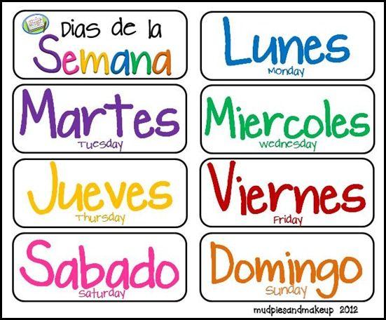 Spanish Days Of The Week, Various Printables