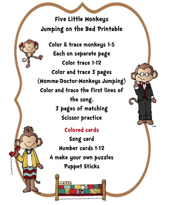 Preschool Printables   Five Little Monkeys Jumping On The Bed