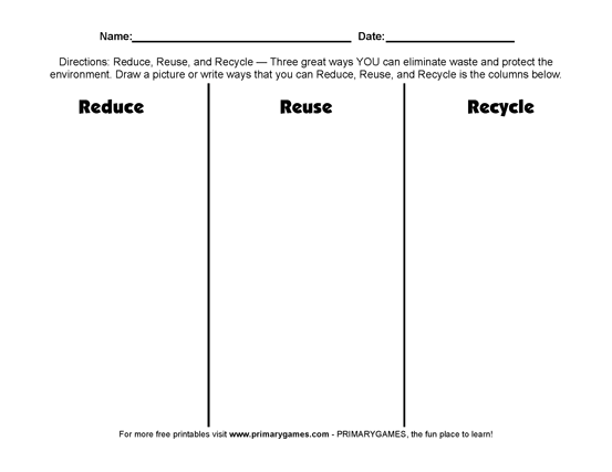 Earth Day Worksheets  Reduce, Reuse, Recycle!