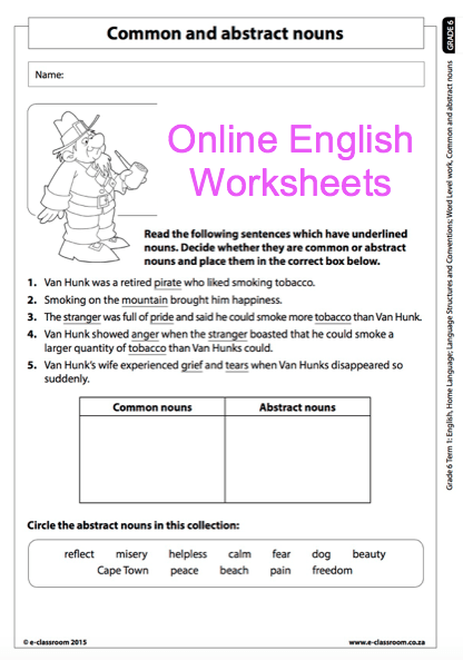 Grade 6 Online English Language Worksheets, Abstract Nouns And