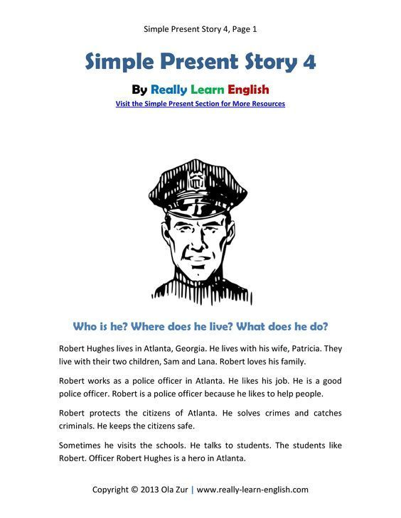 Look! A Free Printable English Short Story In The Simple Present