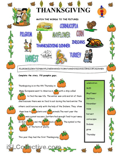 Thanksgiving Worksheet