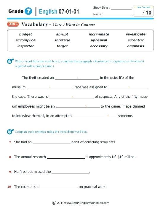 7th Grade Ela Worksheets Pdf