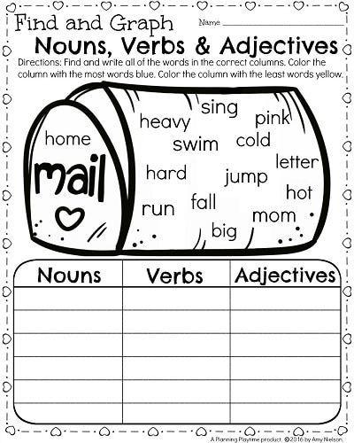 Imágenes De Nouns Verbs Adjectives Worksheets 1st Grade
