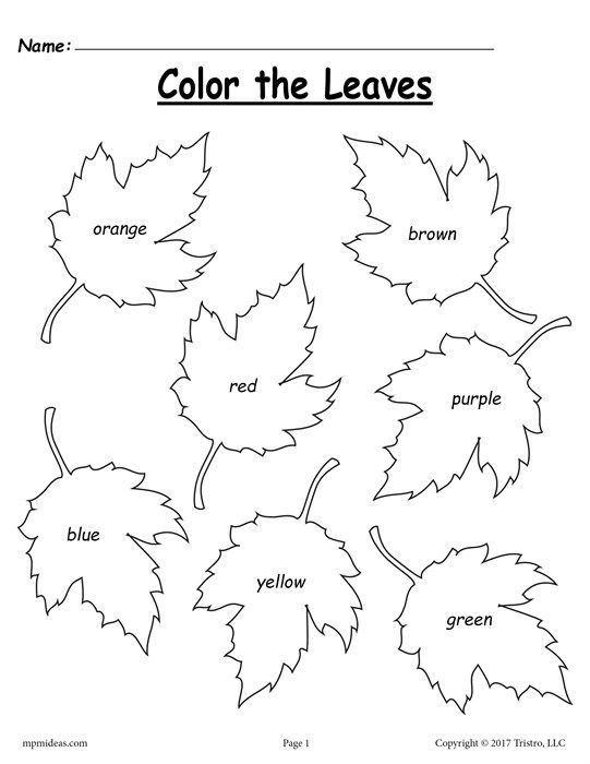 Free Fall Leaf Color Words Worksheet