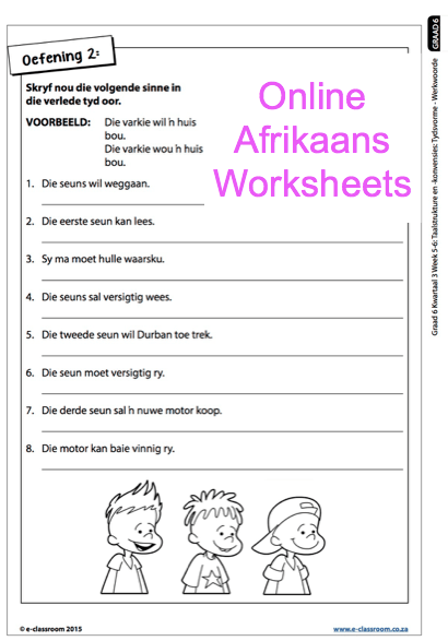 Grade 6 Online Afrikaans Worksheets, Werkwoorde  For More