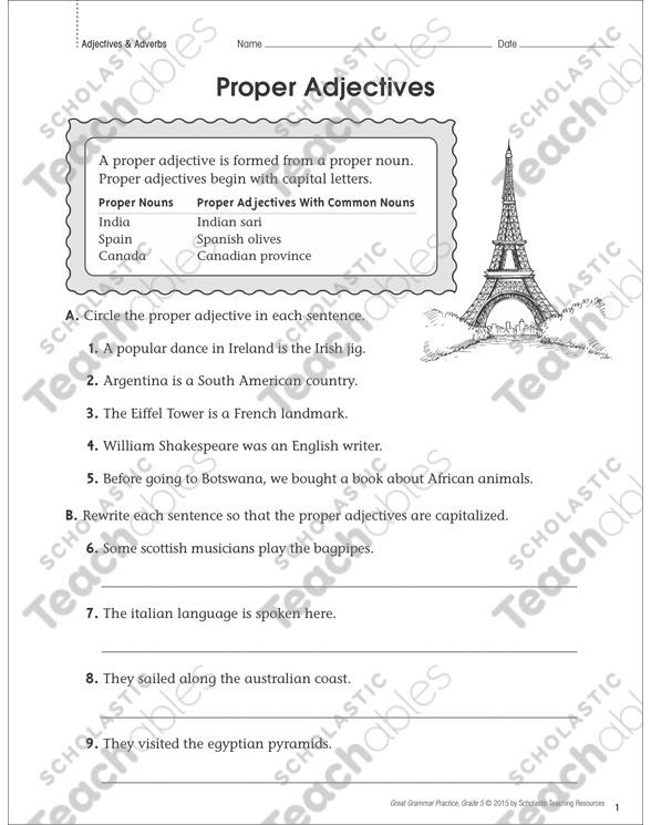 Proper Adjectives  Grammar Practice Page