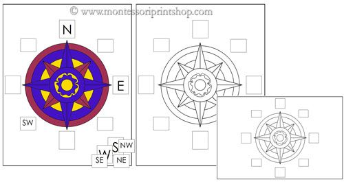 Free  Parts Of A Compass Rose In Both Color And Black & White