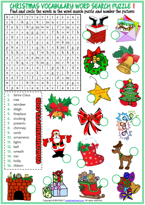Christmas Word Search Puzzle Esl Printable Worksheets