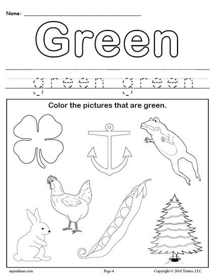 Free Color Green Worksheet