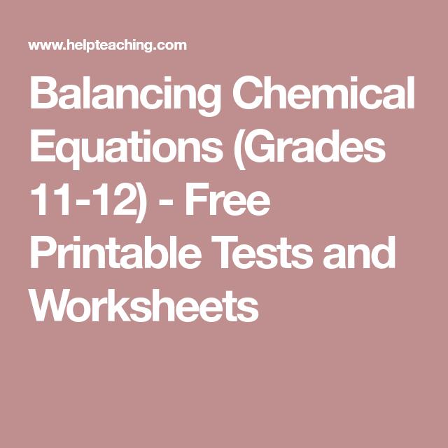 Balancing Chemical Equations (grades 11