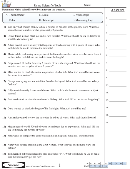 Science Tools Worksheets