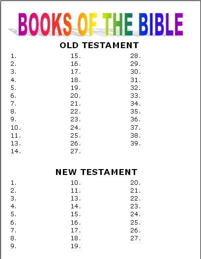 Books Of The Bible Worksheet