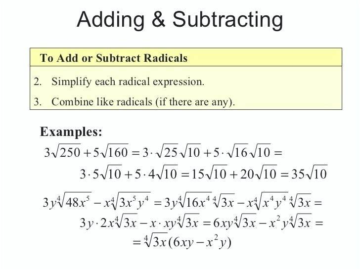 Adding Subtracting Radicals Worksheet – Webbuilderdirectory Info