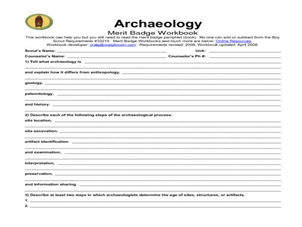 Environmental Science Merit Badge Worksheet  Science