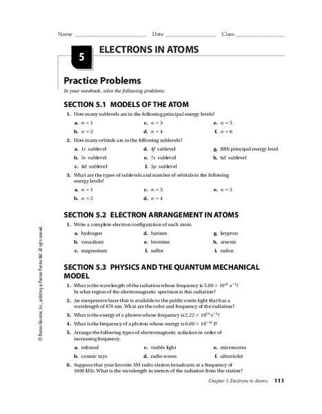 Arrangement Of Electrons In Atoms Worksheet Answers  2278904