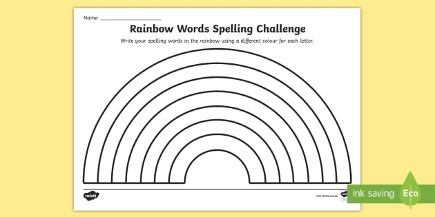 New   Rainbow Spelling Worksheet