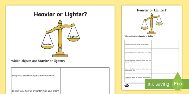Heavier Or Lighter Worksheet   Worksheet
