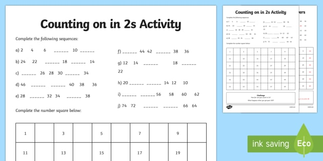 Skip Counting By 2's Worksheet   Worksheet