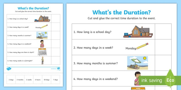 What's The Duration  Worksheet   Worksheet