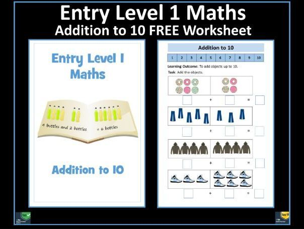 Entry Level 1 Maths  Free Addition To 10 Worksheet