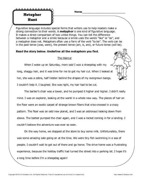Simile And Metaphor Worksheet 1 Answer Key Intrepidpath