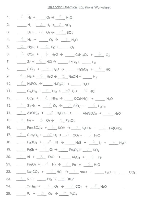 Chemistry Worksheet Balancing Equations Answers Resume Key Pics 1