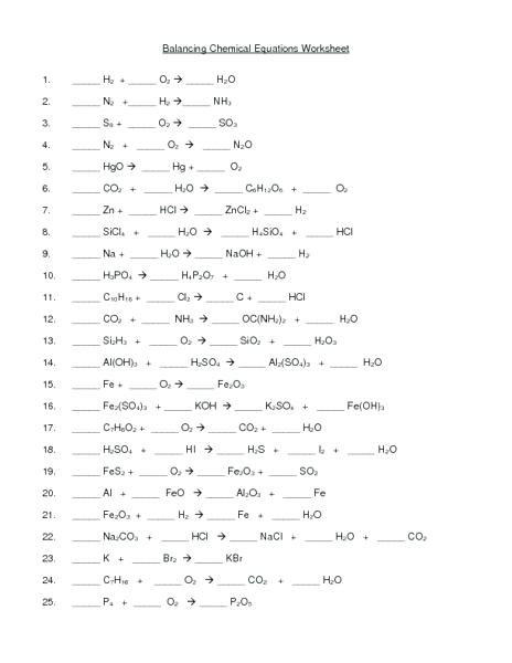 Balancing Chemical Equations Chemistry Worksheet Answer Key 1 25